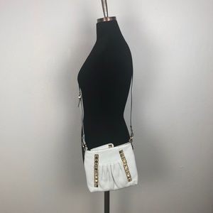 B. Makowsky White Leather Crossbody Bag